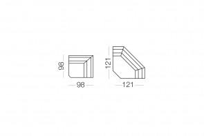 Duke - élément d'angle, dimensions