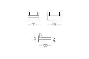 Ellington - module 1 place pour canapé, dimensions
