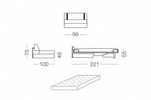Ellington - module 1 place convertible pour canapé, dimensions