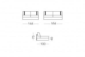 Ellington - module 2 places pour canapé, dimensions