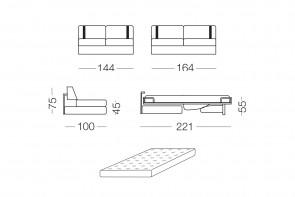 Ellington - module 2 places convertible pour canapé, dimensions