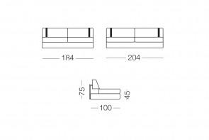 Ellington - module 3 places pour canapé, dimensions