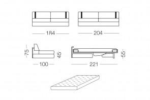 Ellington - module 3 places convertible pour canapé, dimensions