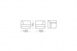 Ellington - élément d'angle, dimensions