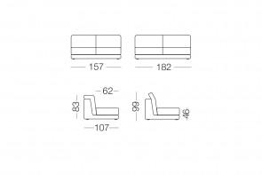 Joe - module 2 places pour canapé, dimensions