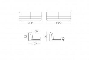 Joe - module 3 places pour canapé, dimensions