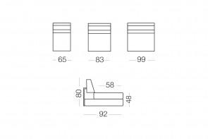 Matrix - module 1 place pour canapé, dimensions