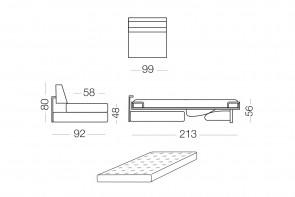 Matrix -  module 1 place convertible pour canapé, dimensions
