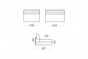 Matrix - module 2 places pour canapé, dimensions