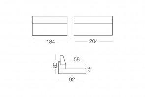 Matrix - module 3 places pour canapé, dimensions