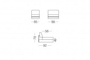 Prince - module 1 place pour canapé, dimensions