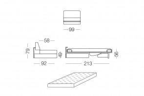 Prince - module 1 place convertible pour canapé, dimensions