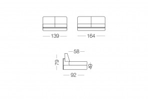 Prince - module 2 places pour canapé, dimensions