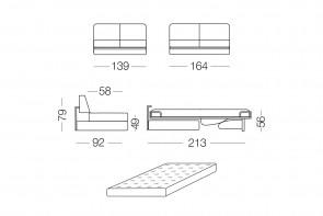 Prince - module 2 places convertible pour canapé, dimensions