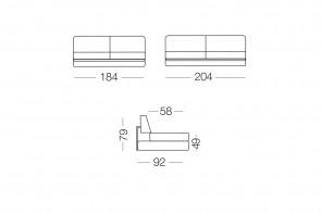 Prince - module 3 places pour canapé, dimensions