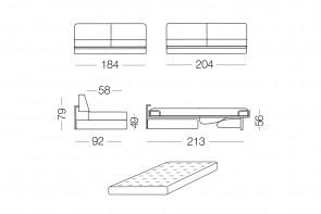 Prince - module 3 places convertible pour canapé, dimensions