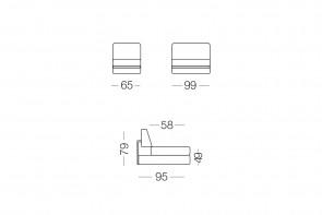 Shorter - module 1 place pour canapé, dimensions