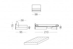 Shorter - module 1 place convertible pour canapé, dimensions