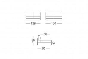 Shorter - module 2 places pour canapé, dimensions