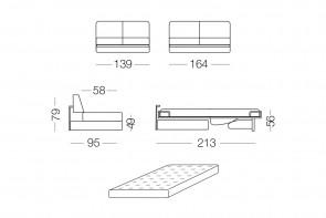 Shorter - module 2 places convertible pour canapé, dimensions