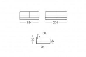 Shorter - module 3 places pour canapé, dimensions