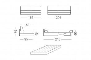 Shorter - module 3 places convertible pour canapé, dimensions