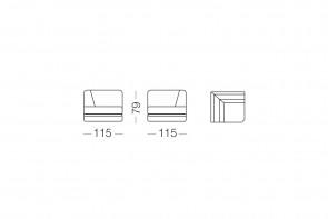Shorter - élément d'angle, dimensions